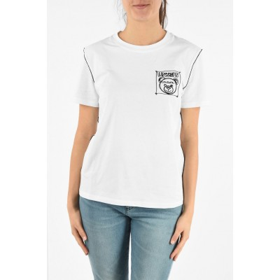 Cotton Crew-Neck T-Shirt with Embroidery Moschino Herren Sale Outlet 974FFOGU