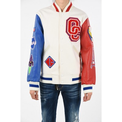 Bomber with Patch and Leather Sleeves Opening Ceremony Herren Winter Neue Lagerankunft BR5PPXCJ