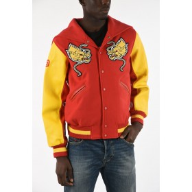 Embroidered Bomber with Leather Sleeves Opening Ceremony Herren Extra Lang Online 1OV6CZK9