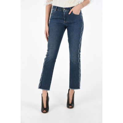 High Waist Slim Fit Jeans with Floral Trimmings Red Valentino Damen Y39ZLWEU