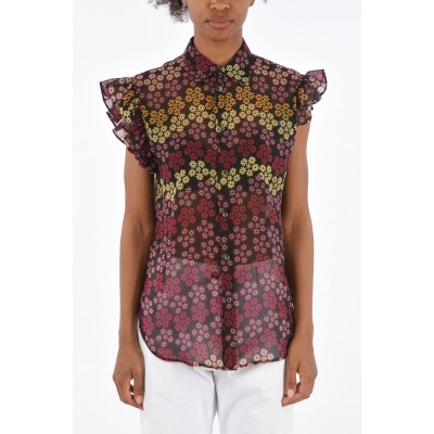Floral Printed Shirt with Ruffle Sleeve Dsquared2 Damen Altere Modelle 5ZGSYHLR