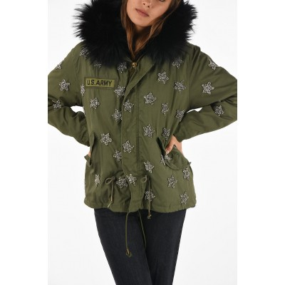 Crop Coat with Jewel Embroderies AS65 Damen Winter Neue Lagerankunft YPHLKSO1