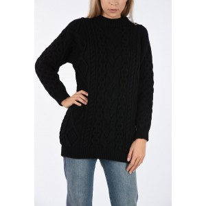 Wool and Cashmere cable knit crew-neck sweater Celine Damen Bildfarbe JWL5DPN6