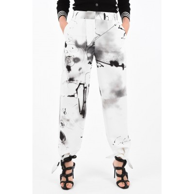 Abstract-Print FUTURA Palazzo Pants with Bow Ankle Off-White Damen 6PBSRGB5